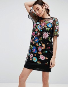 Сетчатое платье-футболка мини с вышивкой ASOS PREMIUM - Черный