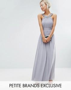 Плиссированное платье макси Little Mistress Petite - Серый