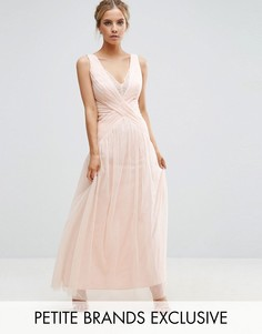 Платье макси с кружевной отделкой и складками Little Mistress Petite - Бежевый