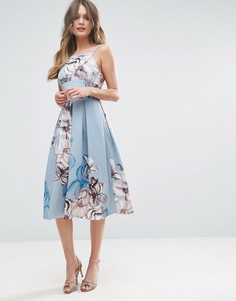 Платье миди на бретельках с цветочным принтом ASOS - Синий