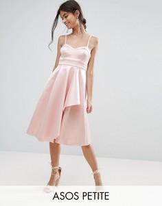 Атласное платье миди с драпировкой ASOS PETITE - Розовый
