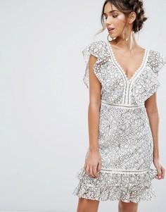 Платье мини с оборками из двухцветного кружева Endless Rose - Мульти