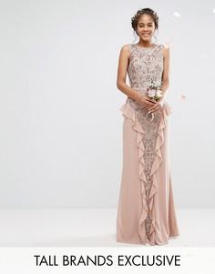 Декорированное платье макси с рюшами на юбке Maya Tall - Розовый