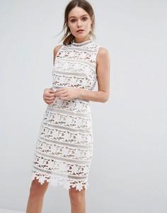 Кружевное платье с высокой горловиной New Look Premium - Белый