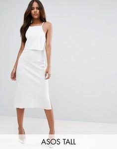 Платье миди в рубчик с кроп-топом ASOS TALL - Кремовый
