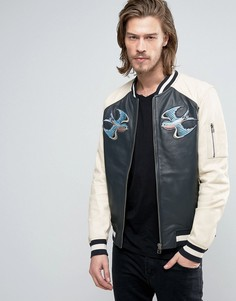 Кожаная куртка Goosecraft - Синий
