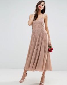 Платье макси на бретельках с отделкой ASOS WEDDING - Бежевый