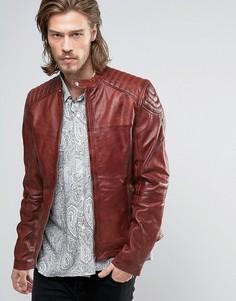 Красная кожаная байкерская куртка Goosecraft - Красный