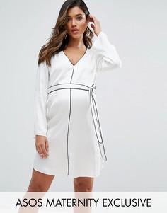 Платье рубашка с атласным кантом и поясом ASOS Maternity - Белый