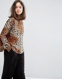 Прямая рубашка с леопардовым принтом Monki - Мульти