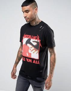 Состаренная футболка с принтом Metallica ASOS - Черный