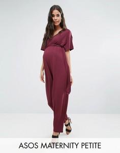 Комбинезон с рукавами-кимоно и поясом ASOS Maternity PETITE - Красный