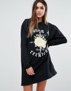 Платье-джемпер с розами Missguided - Черный