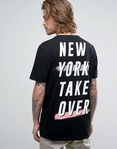 Длинная футболка с принтом New York в стиле 90-х ASOS - Черный