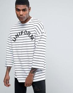 Oversize-футболка в полоску с принтом Uniform ASOS - Белый