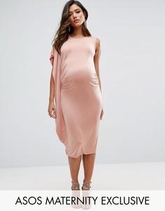 Платье миди с драпировкой ASOS Maternity - Розовый