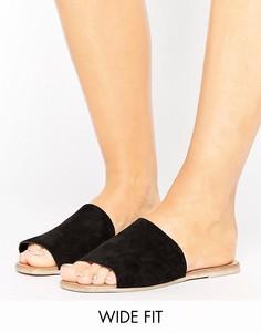 Замшевые сабо на плоской подошве для широкой стопы New Look - Черный