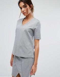 Свитшот с V-образным вырезом Selected Femme - Серый