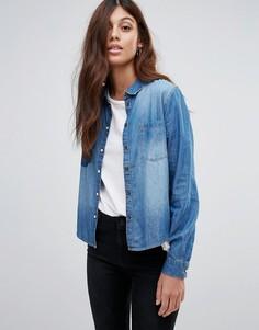 Укороченная джинсовая рубашка с карманами JDY Lorine - Синий