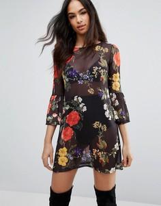 Сетчатое цельнокройное платье с цветочным принтом Boohoo - Мульти