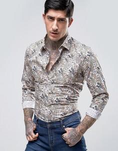 Приталенная рубашка с принтом Devils Advocate Rock - Мульти