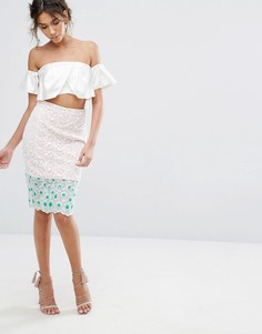 Кружевная юбка-карандаш с цветочной вышивкой Endless Rose - Мульти
