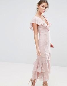 Платье миди с выжженным рисунком и оборками на рукавах и по краю Dark Pink - Розовый