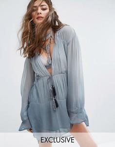 Свободное платье с кисточками Sacred Hawk - Серый