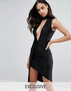 Платье миди с глубоким вырезом и запахом на юбке NaaNaa - Черный