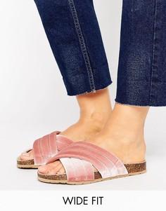 Бархатные сабо для широкой стопы New Look - Розовый