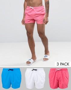 Комплект из 3 коротких шортов для плавания (бело-розовые и синие) ASOS - СКИДКА - Мульти