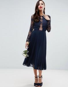 Плиссированное платье миди с кружевом с ресничками ASOS WEDDING - Темно-синий