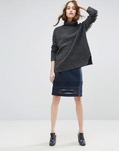 Облегающая юбка в полоску Ganni Rogers - Темно-синий