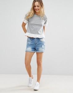Джинсовые шорты с кружевной отделкой на кармане Vero Moda - Синий