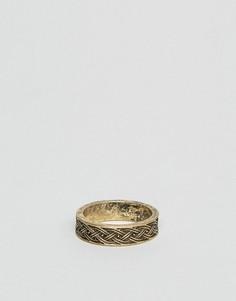Кольцо с тисненым плетеным узором ASOS - Золотой