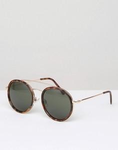Солнцезащитные очки в круглой черепаховой оправе D-Struct - Коричневый
