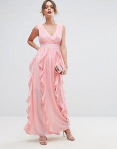 Платье макси с оборками Boohoo - Розовый
