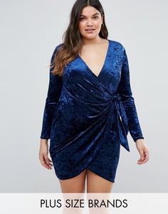 Бархатное платье с запахом Club L Plus - Темно-синий