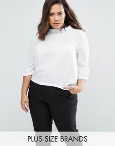 Блузка с высокой горловиной и декоративной отделкой Elvi Plus - Белый