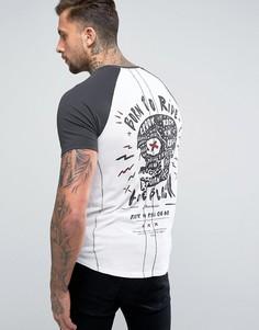 Удлиненная футболка с рукавами реглан и принтом Religion - Белый