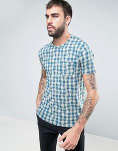 Мягкая футболка с волнообразным принтом YMC - Синий