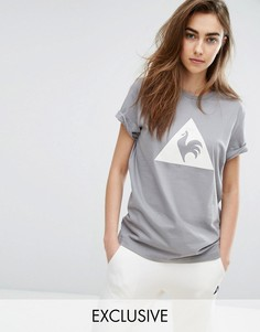 Серая футболка с логотипом из флока Le Coq Sportif Charline эксклюзивно для ASOS - Серый