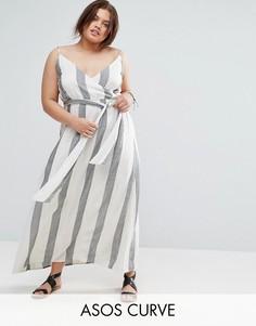 Полосатое пляжное платье макси из натуральных волокон ASOS CURVE - Мульти