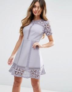 Платье мини с кружевной вставкой ASOS PREMIUM - Фиолетовый