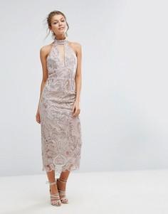 Кружевное платье миди с вырезом капелькой True Violet - Розовый