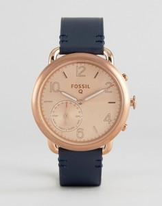 Смарт-часы с темно-синим кожаным ремешком Fossil Q Tailor - Синий