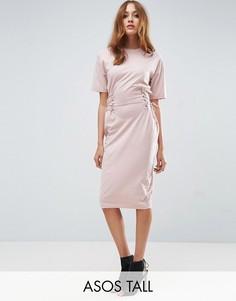 Платье-футболка миди с отделкой в стиле корсета ASOS TALL - Розовый
