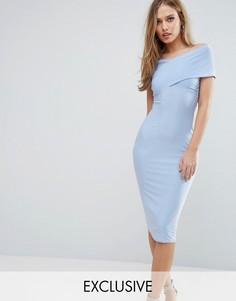 Платье миди с открытыми плечами Club L - Синий
