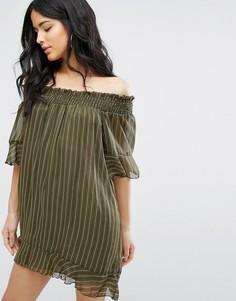 Свободное платье в полоску с открытыми плечами Daisy Street - Зеленый