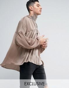 Атласная рубашка-туника классического кроя Reclaimed Vintage - Stone